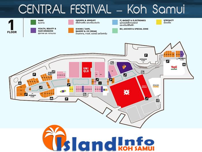 CENTRAL FESTIVAL - Floor Plan - Directory - Koh Samui - Island Info Samui - Thailand- Floor 1
