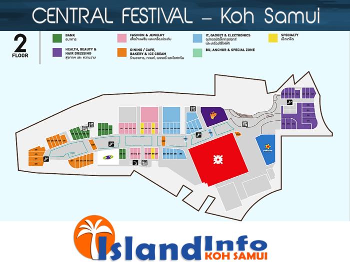 CENTRAL FESTIVAL - Floor Plan - Directory - Koh Samui - Island Info Samui - Thailand- Floor 2
