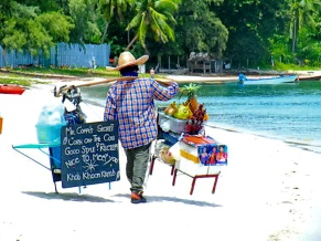 Mr. Coppi, a long time favourite beach vendor at Choeng Mon Beach