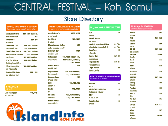 CENTRAL FESTIVAL - directory - floor plan - business sirectory - shop listings - outlet location- Koh Samui - Island Info Samui