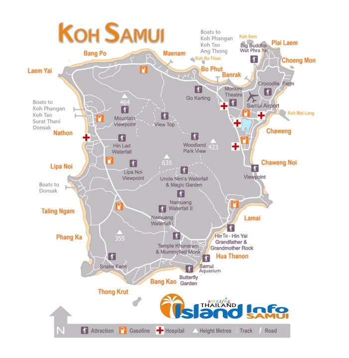 Koh Samui, Map, Island Info Samui, Map Samui, Carte Samui