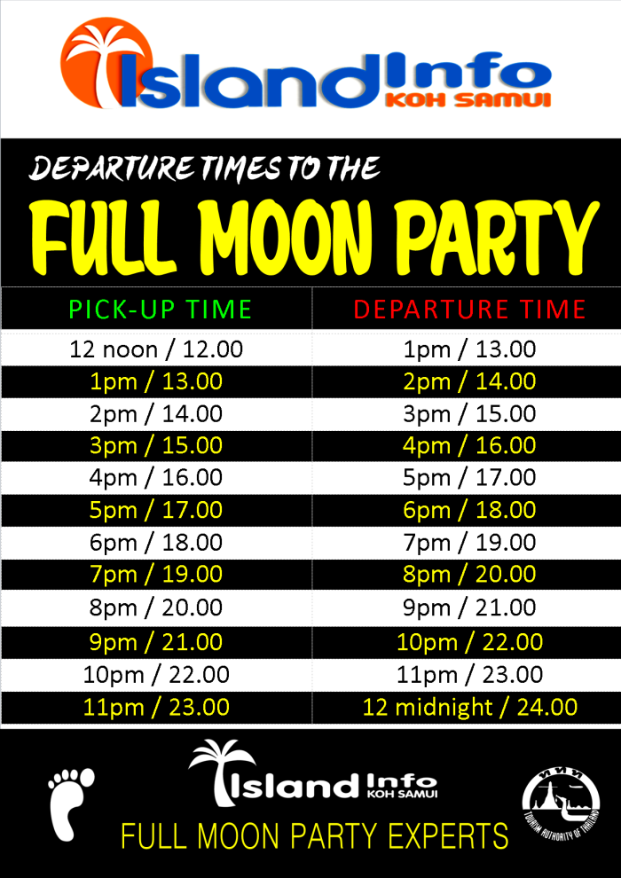 Full moon party departure times