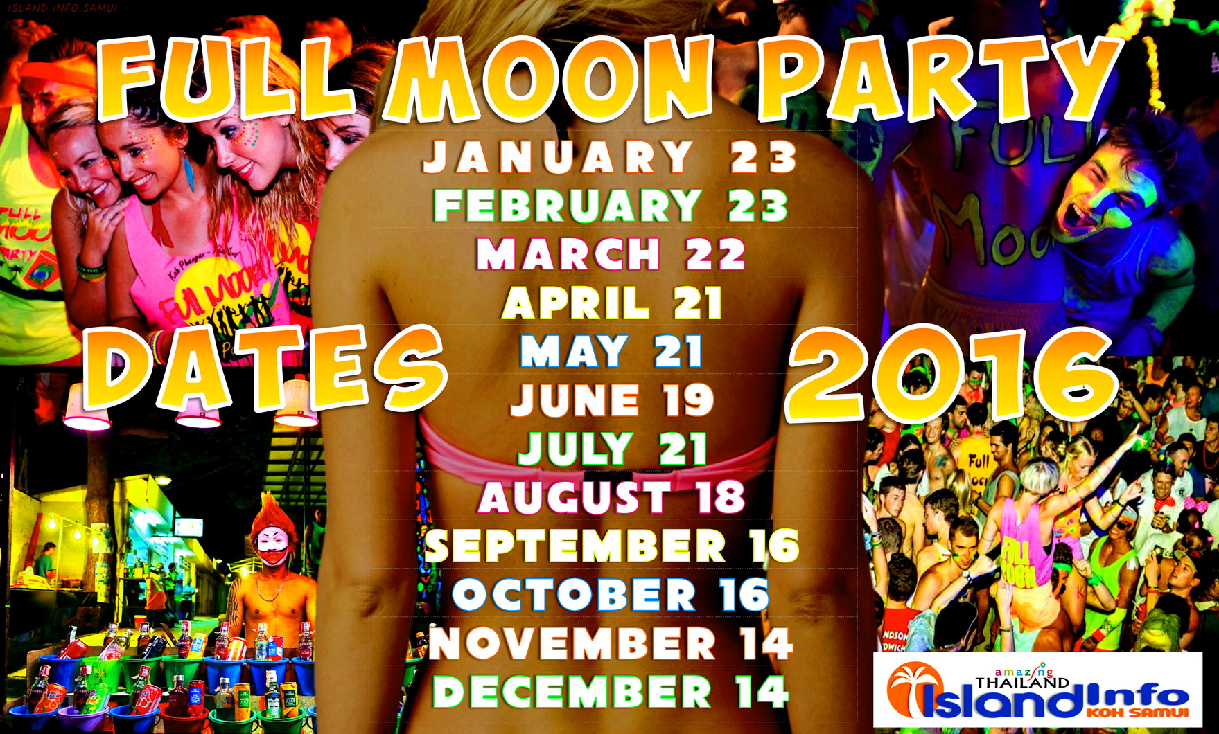 beaches buckets calendar dates full moon party full moon thailand ...