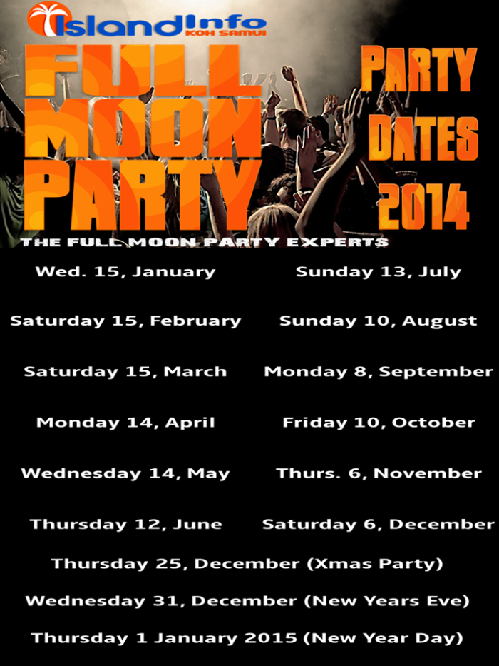 FULL MOON PARTY dates 2014-island-info