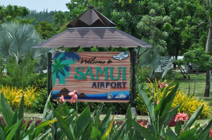 Koh Samui International Airport, Welcome sign, entry, USM