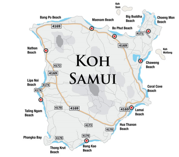 map samui highway numbers