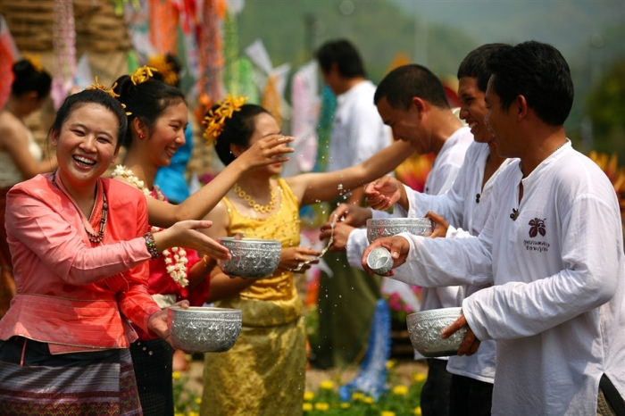 Songkran, traditional blessing