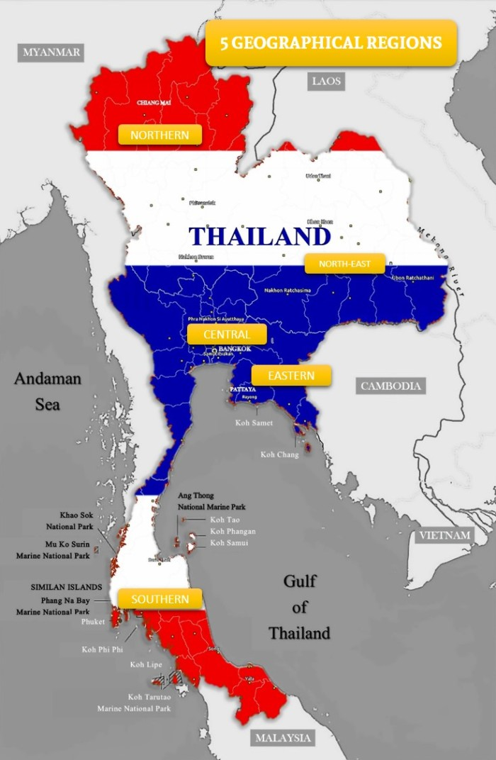THAILAND GEOGRAPHICAL REGIONS
