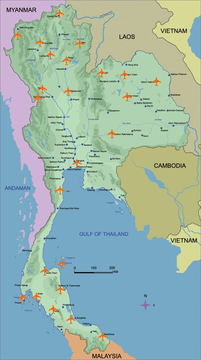 Airports in Thailand. Island Info Samui, tours and Travel