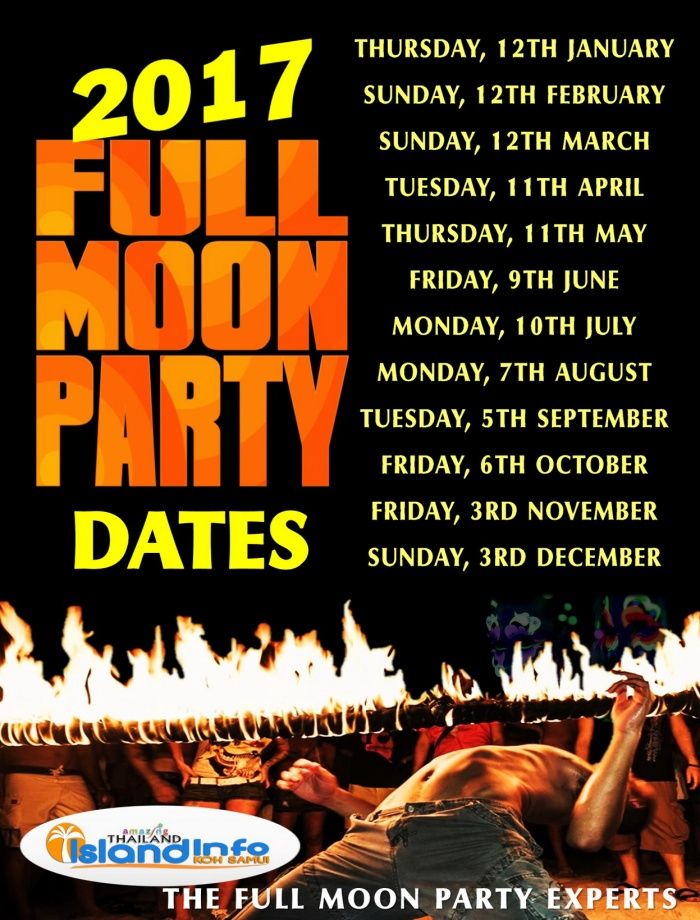 2017 FULL MOON PARTY, DATES,