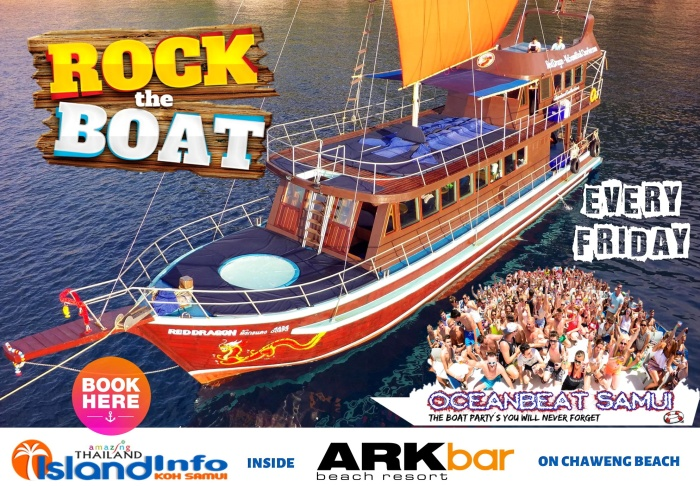 Rock the Boat, Ocean Beat, Party Boat, Island Info Samui, friday